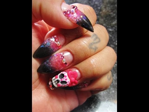 Pointed Acrylic Nails Sugar skull low smile line