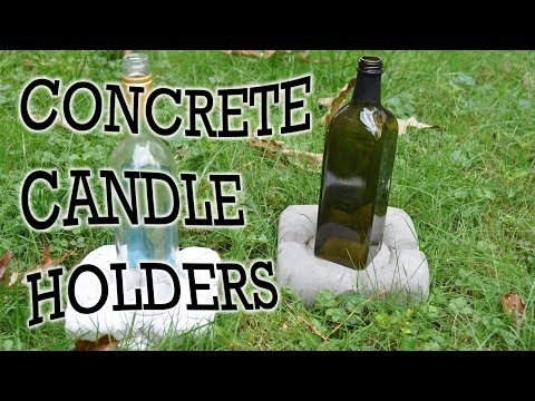 How To Make Concrete Wine Bottle Candle Holders - DIY Stuff by DKS