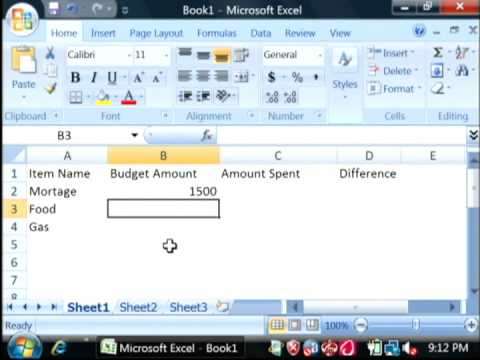 General Computer Tips : How to Create a Simple Budget in Excel