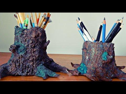 Paper Mâché Tree Trunk | DIY Pencil/Painbrush Holder