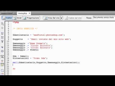 Dreamweaver e PHP: inviare i dati di un form via mail