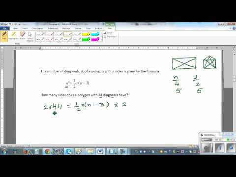 Using algebra to find relationship between number of sides and diagonals of a polygon