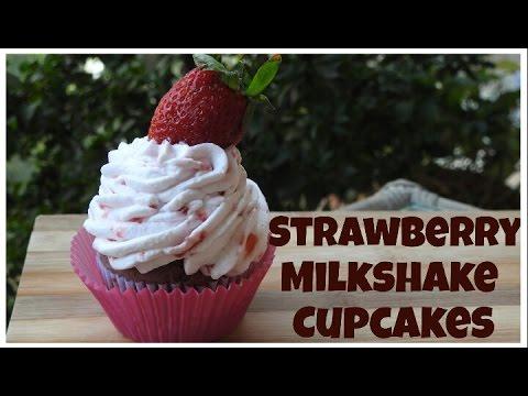Strawberry Milkshake Cupcake | Eggless Desserts | Bakelicious