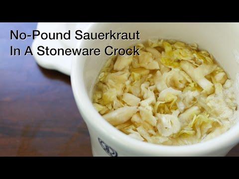 No Pound Sauerkraut In A Stoneware Crock