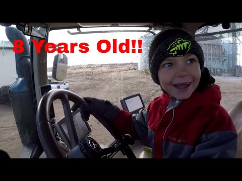 Little Farm Kid Drives Big John Deere Tractor!