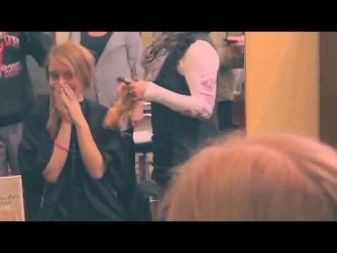haircut on long hair blonde to a short pixie cut