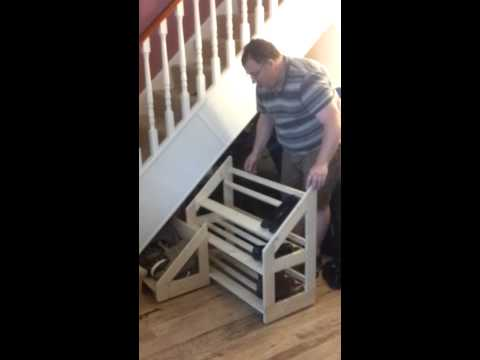 Under Stairs Sliding Shoe Rack