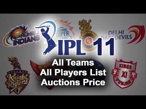 IPL 11 2018 All Teams All Players List & Auctions Price