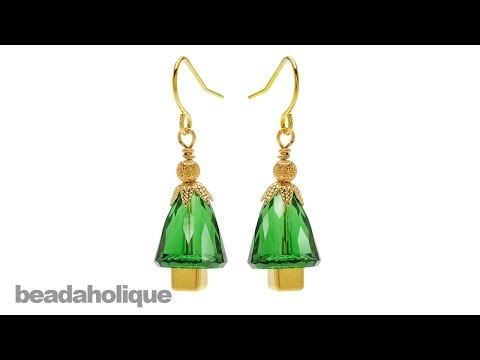 How to Make SWAROVSKI ELEMENTS Dome Bead Christmas Tree Earrings
