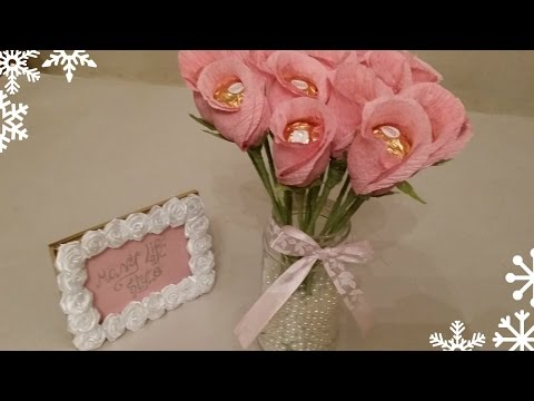 طريقة بسيطة لعمل أجمل بوكيه شكولاته فريه روشيه   Tutorial, Diy, how to chocolate bouquet