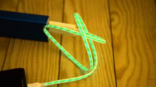 Usb Cable El Illuminated Green Led Charge & Data Sync -1