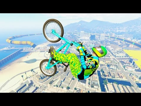 GTA 5 BMX Rail Grind Long Wallride and Halfpipe Stunt Race