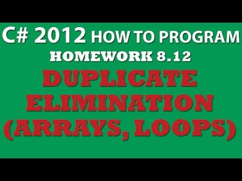 8-12 C# Duplicate Elimination Using C# Arrays