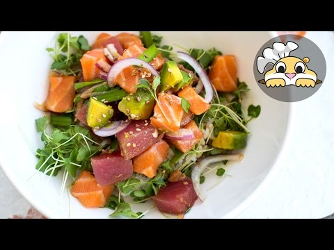 Easy Poke in 5 minutes: Poke Recipe with Tuna and Salmon (하와이 요리)