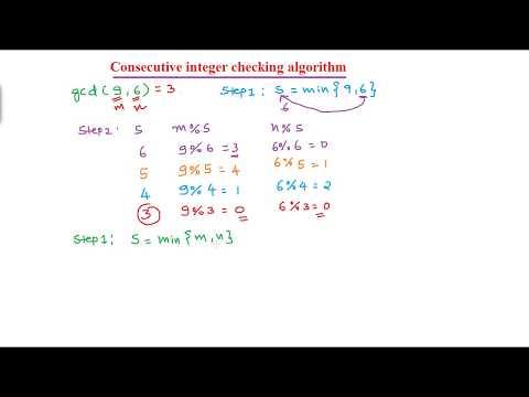Finding GCD using Consecutive integer checking algorithm