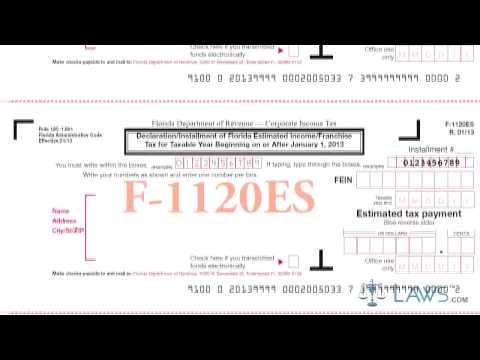 Form F 1120ES Declaration Installment of Florida Estimated Income Franchise Tax