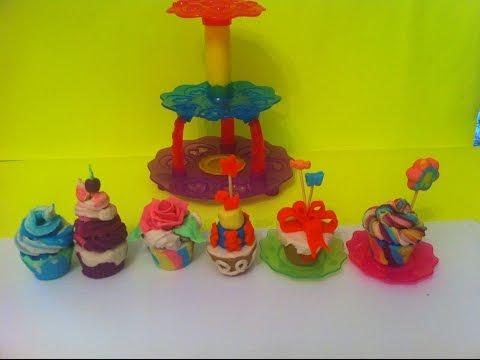 Play Doh Sweet Shoppe Cupcake Tower: Rose, Ocean ,Top- Cherry  cupcakes