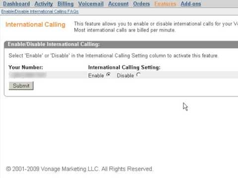 Vonage International Call Block Feature