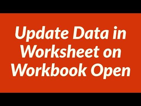 Update Data in worksheet on Workbook Open