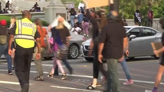 Groups hold peaceful protests in downtown Charleston