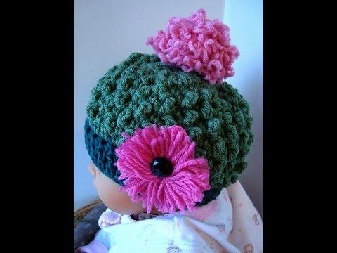 How to Crochet a Hat.  Free  Bobble Stitch Hat Crochet Pattern.  SweetPotatoPatterns