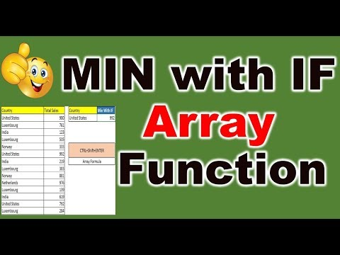 Excel Array formula with MIN and IF function