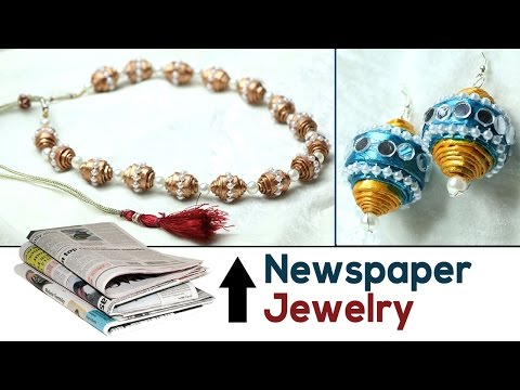 How to Make Newspaper Jewelry: DIY News Paper Earrings & Necklace Tutorial