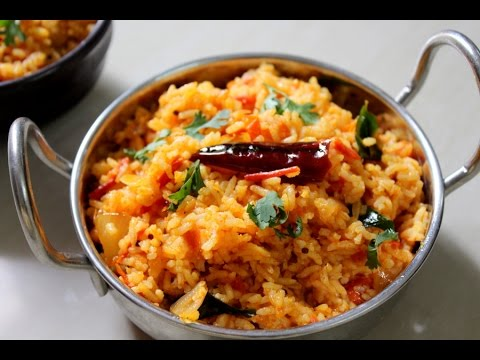 tomato rice recipe south indian-how to make tomato rice for breakfast-tomato bath-thakkali sadam