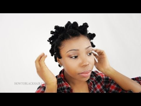 Bantu Knot Out on Natural Hair: How To Take Down Knots on Short Transitioning Hair Tutorial Part 3