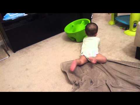 Army crawling baby Bentley learned how to crawl