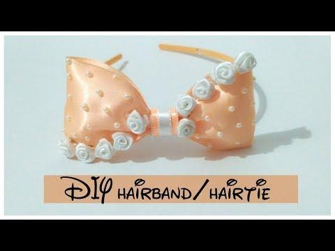 DIY hair band/ hairbow || how to make a hair band/ hairtie || || TIARA WEEK ||