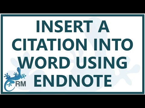 Endnote citation: How to insert a citation into Word using Endnote x7