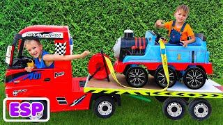 Niki juega vendiendo autos de juguete para niños