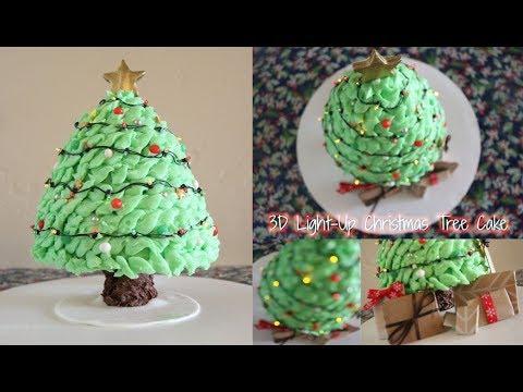 3D Light Up Christmas Tree Cake!