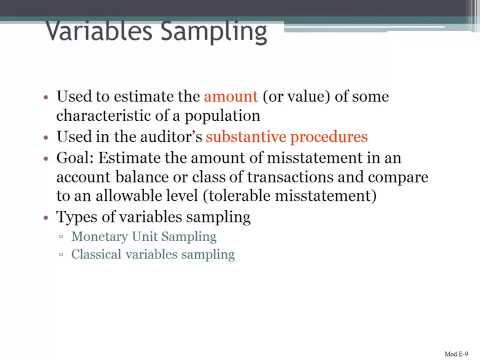 Variables Sampling in Auditing
