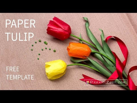 How to make tissue paper Tulip flower, free template