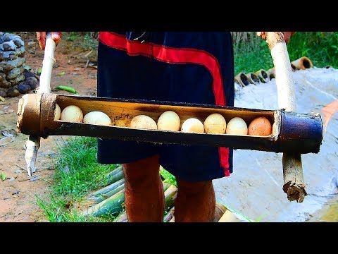 Primitive Technology: Boil Eggs In Bamboo