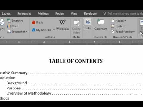 How to Align Page Numbers in a Table of Contents