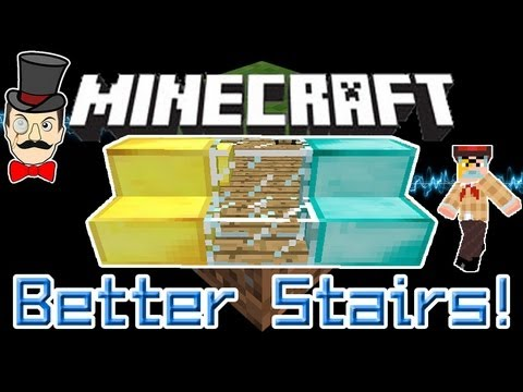 Minecraft Mods - Better Stairs - CREEPER APPROVED! Gold & Diamond Stairs!