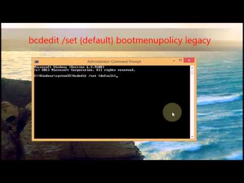 Turn on F8 command at Windows 8 boot