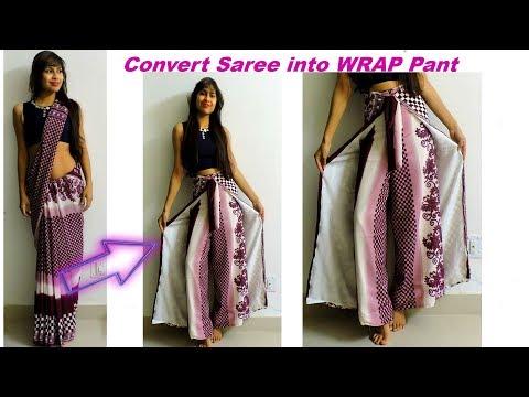 Convert Saree into Wrap Pant/ Diy Wrap in 10 MInutes