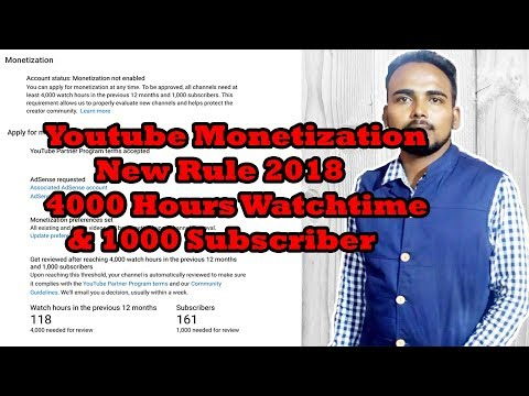 Youtube Monetization New Rule 2018: 4000 Hours Watch-time And 1000 Subscribers  in 12 Month
