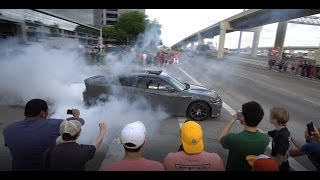 Burnouts in Front of Cop...AND GETTING AWAY! [4K] Houston Coffee and Cars