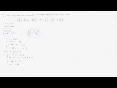 Vector Equation of Lines - Video 1 - Intersection Point of two lines - One Solution - 2D