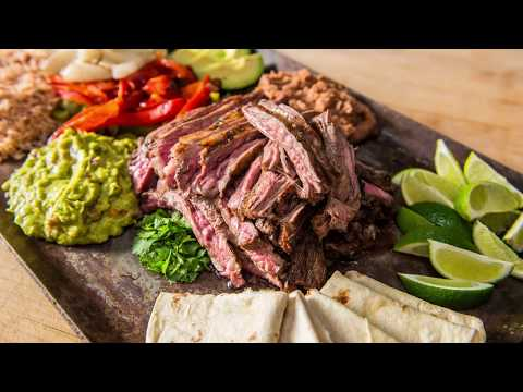 Grilled Carne Asada with Grilled Peppers & Onions Recipe | Traeger Wood Fired Grills