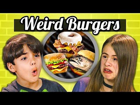 KIDS EAT WEIRD BURGERS! (Donut, Canned, Vegan) | Kids Vs. Food