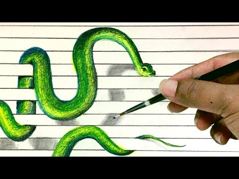 GREEN SNAKE, 3D Notebook Paper Drawing