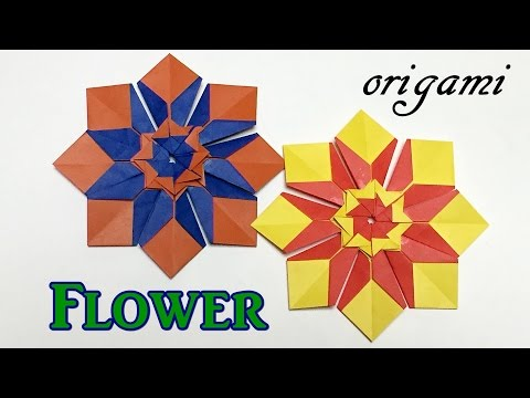 Easy origami flower ornament | How to make a paper flower tutolial step by step