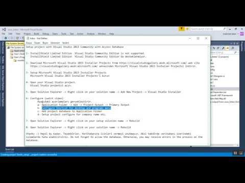 Visual Studio 2015 community Setup Project Access Database