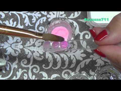 How to: Deep Pink Nail Bed using Acrylic Powder and Nail Art Drops